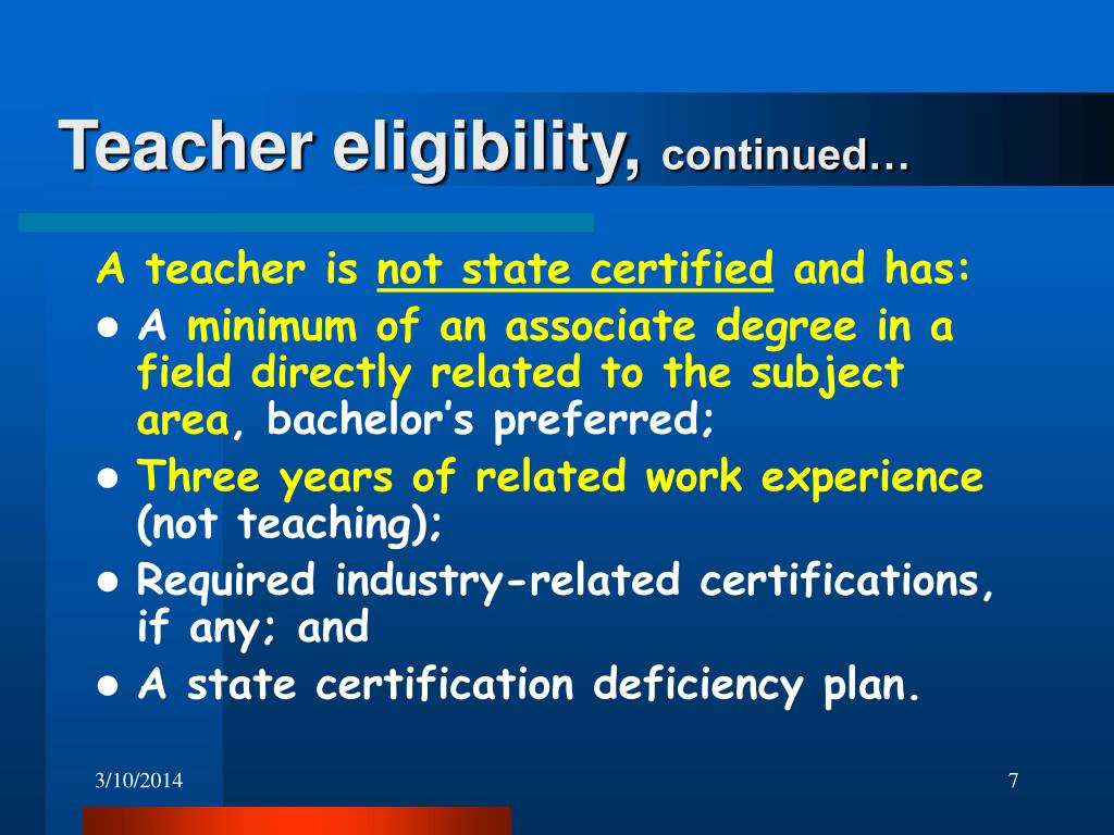 Teacher eligibility,