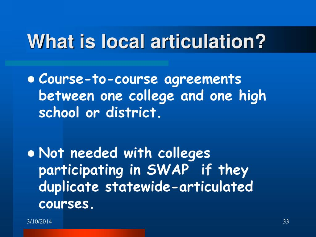 What is local articulation?
