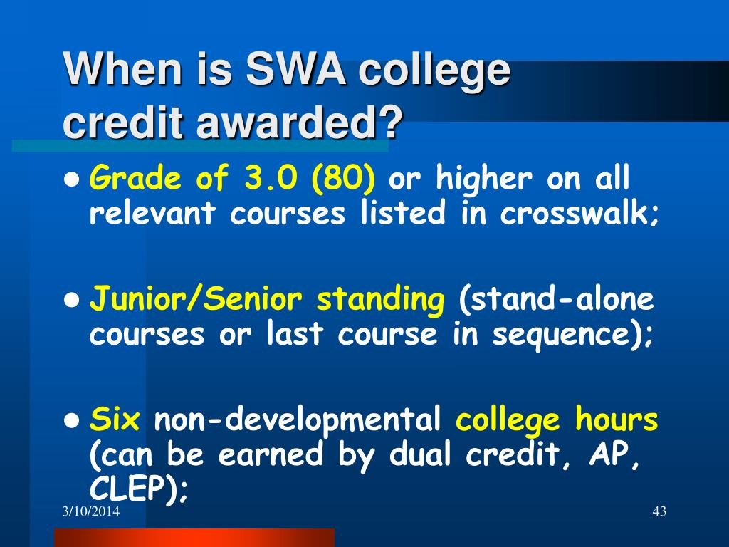 When is SWA college