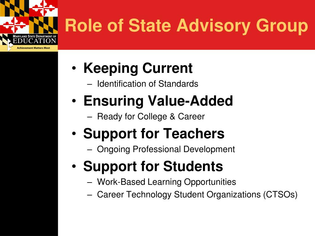 Role of State Advisory Group