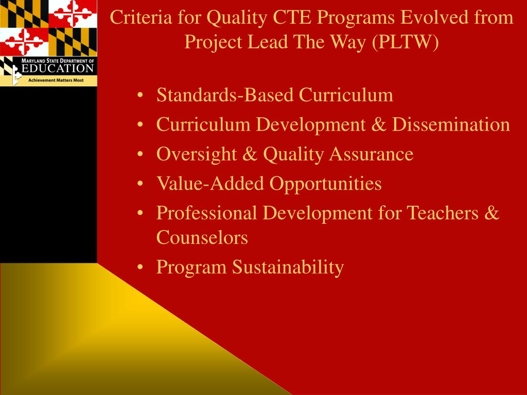 Criteria for Quality CTE Programs Evolved from Project Lead The Way (PLTW)