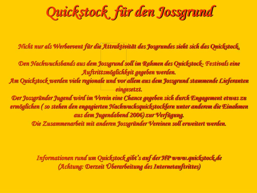 Quickstock  für den Jossgrund