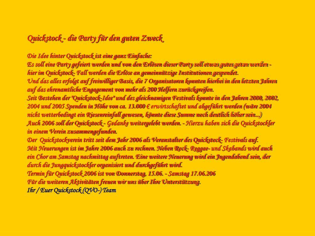 Quickstock - die Party für den guten Zweck