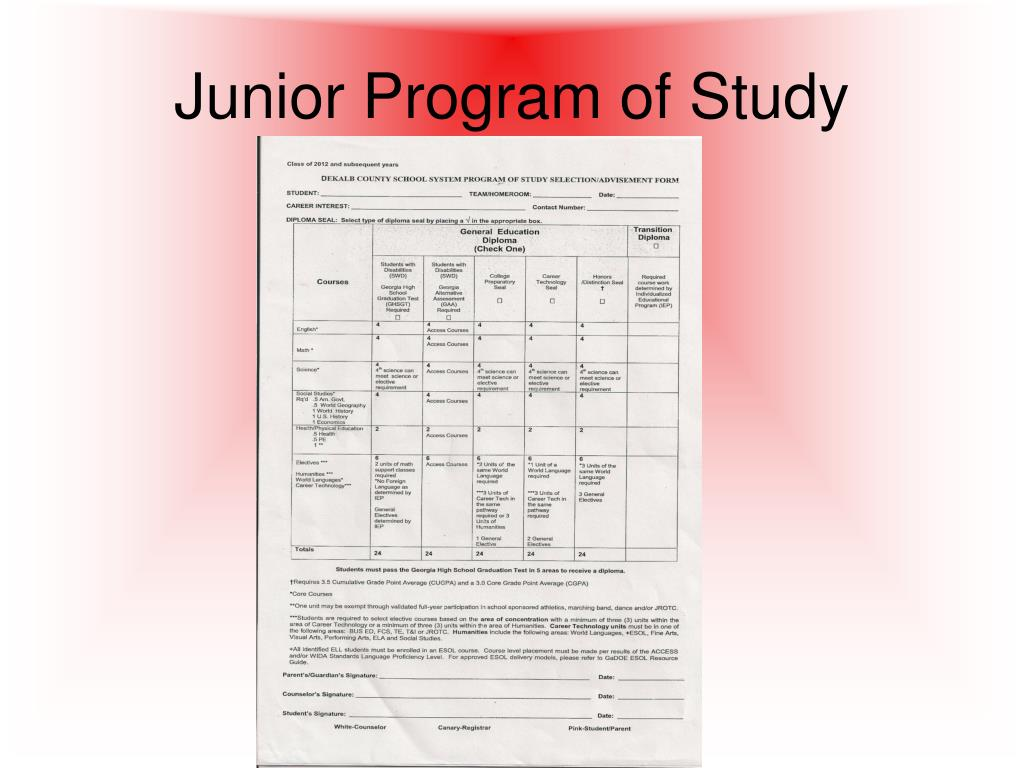Junior Program of Study