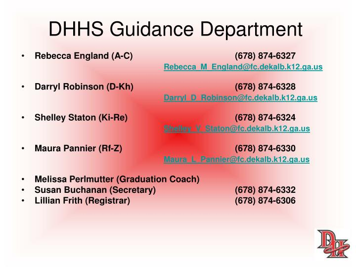 DHHS Guidance Department