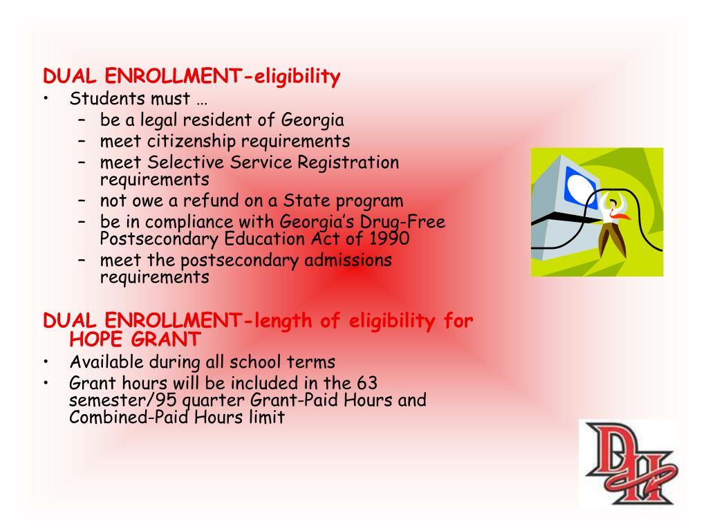DUAL ENROLLMENT-eligibility