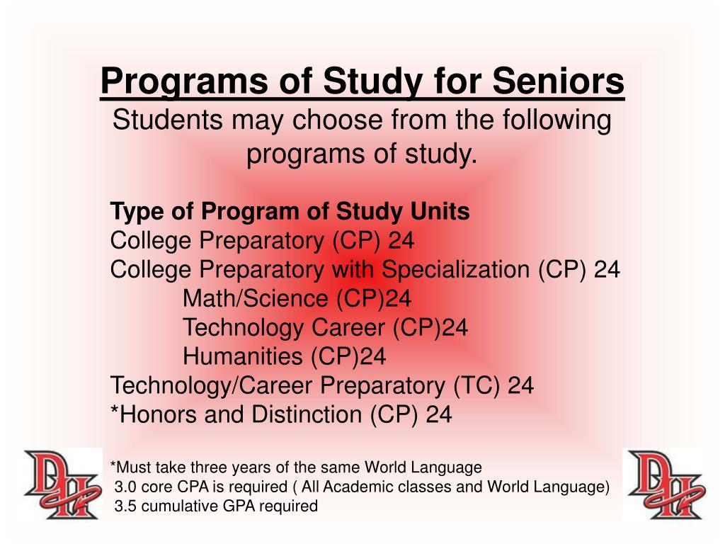 Programs of Study for Seniors