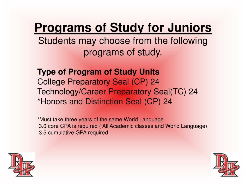 Programs of Study for Juniors
