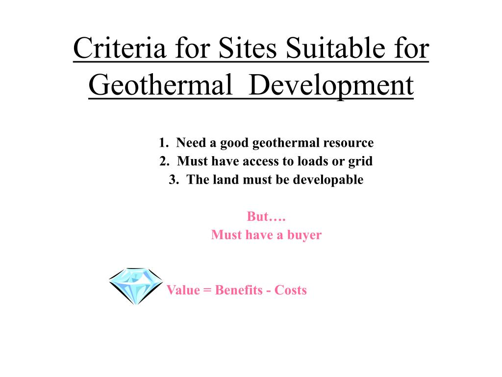 Criteria for Sites Suitable for