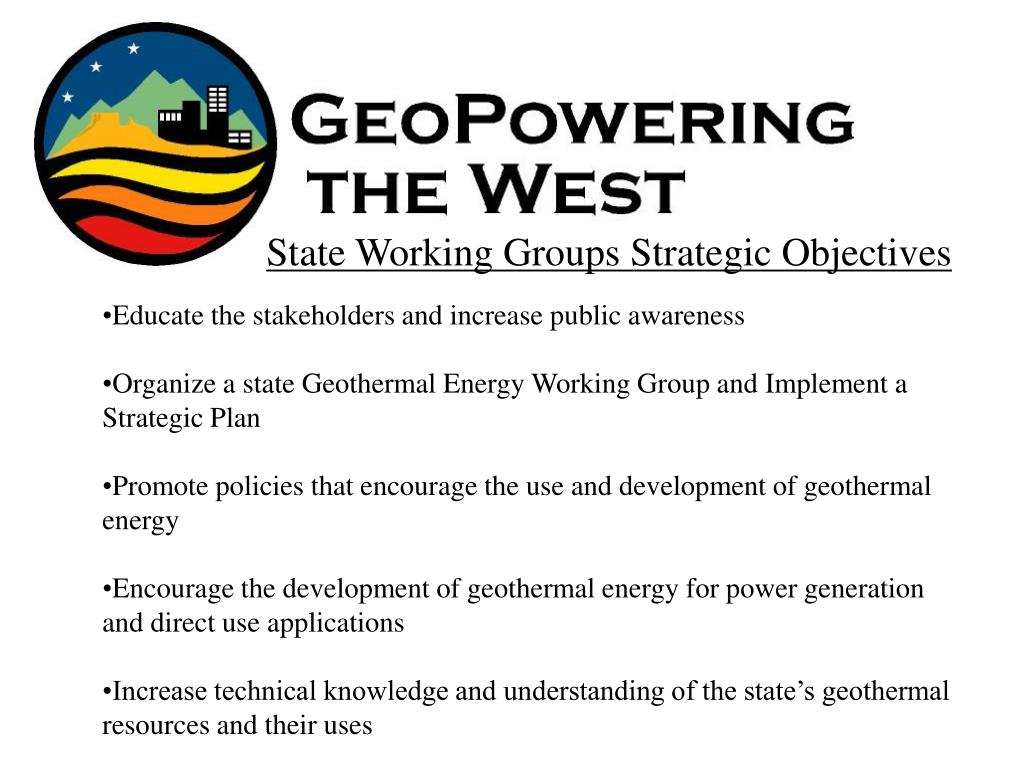 State Working Groups Strategic Objectives