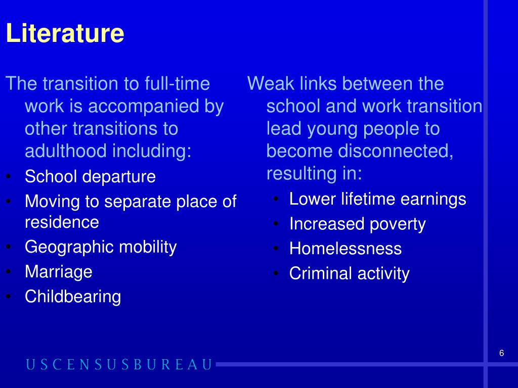 The transition to full-time work is accompanied by other transitions to adulthood including: