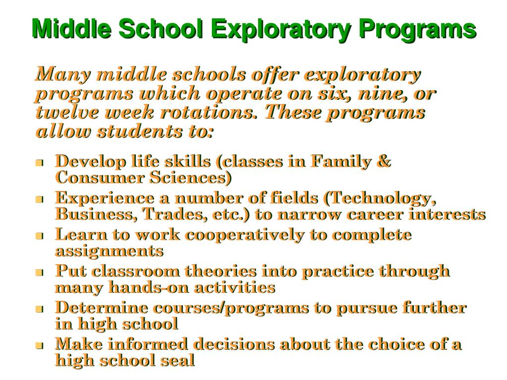 Many middle schools offer exploratory programs which operate on six, nine, or twelve week rotations. These programs allow students to: