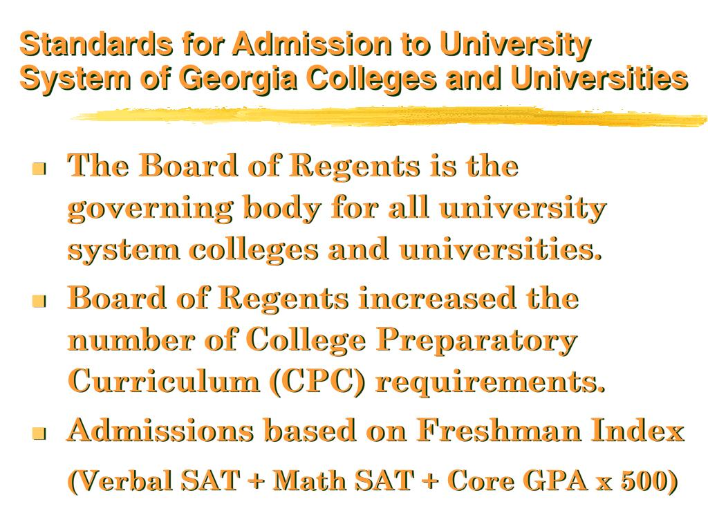 Standards for Admission to University System of Georgia Colleges and Universities