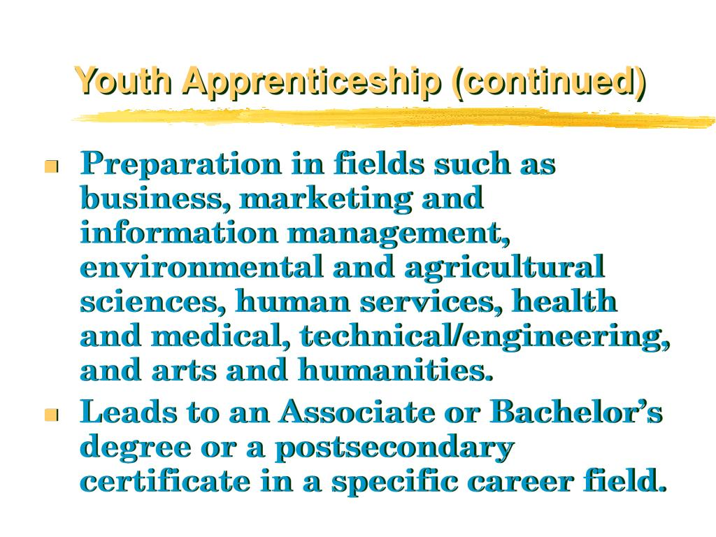 Youth Apprenticeship (continued)