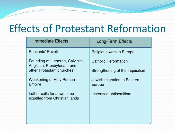 essay on the causes and effects of the protestant reformation This site is listed in the bbc education web guide the best learning resources on the net are only a click away the protestant reformation: background.
