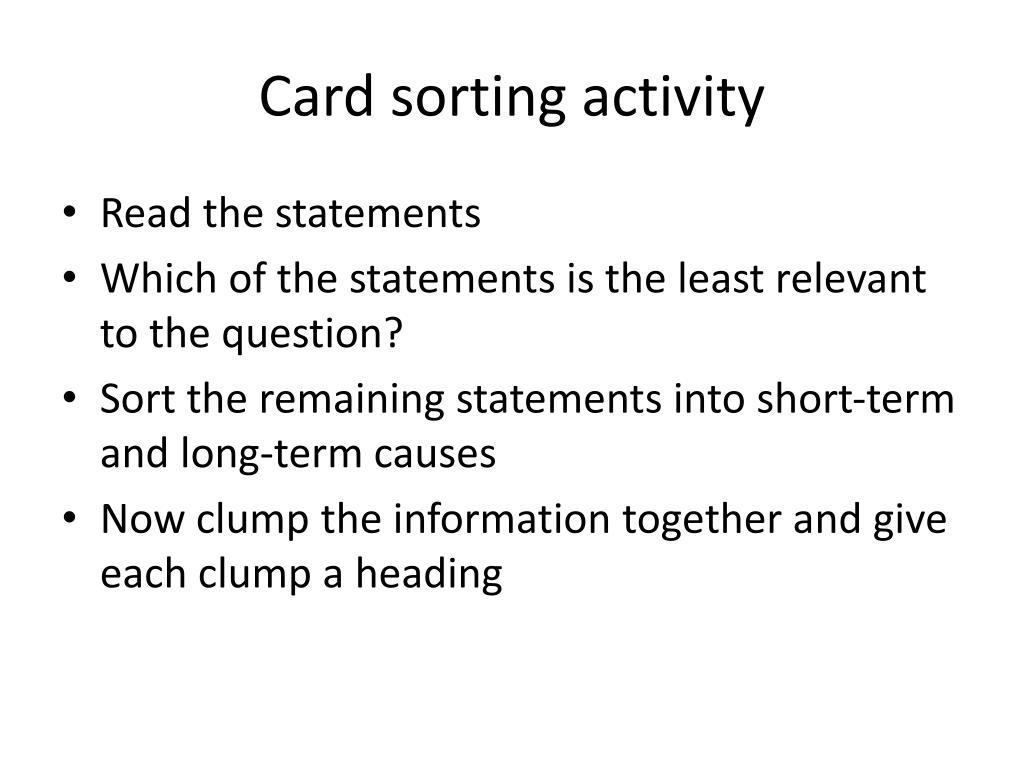Card sorting activity