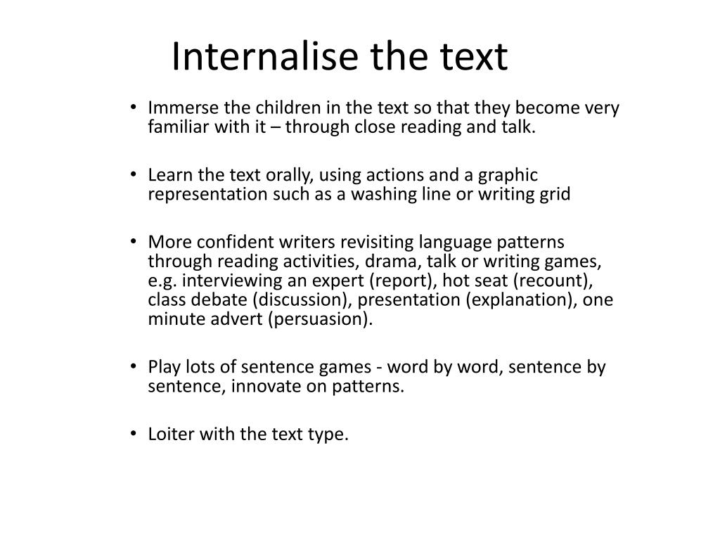 Internalise the text