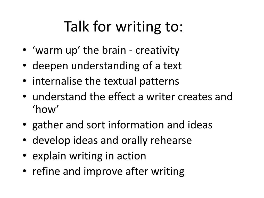 Talk for writing to: