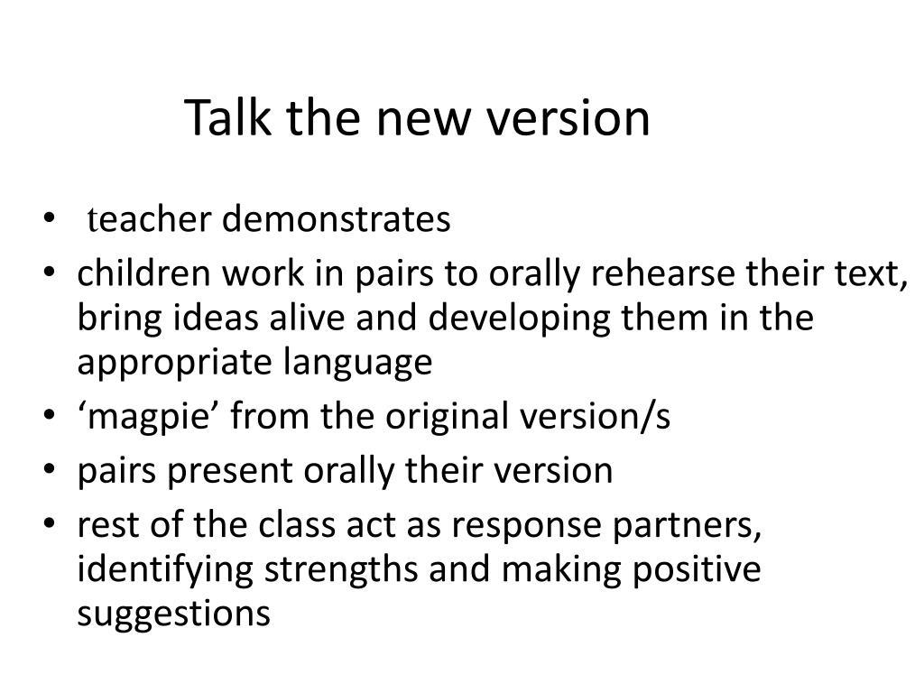 Talk the new version