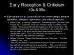 early reception criticism 40s 50s