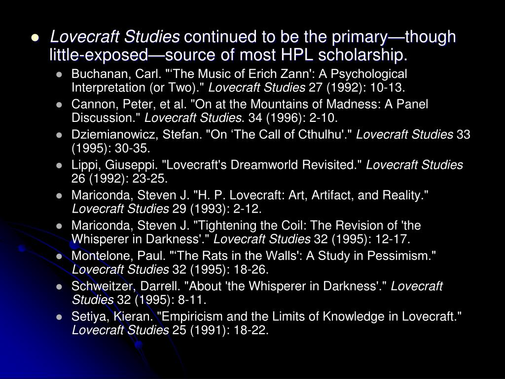 Lovecraft Studies