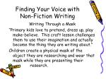 finding your voice with non fiction writing