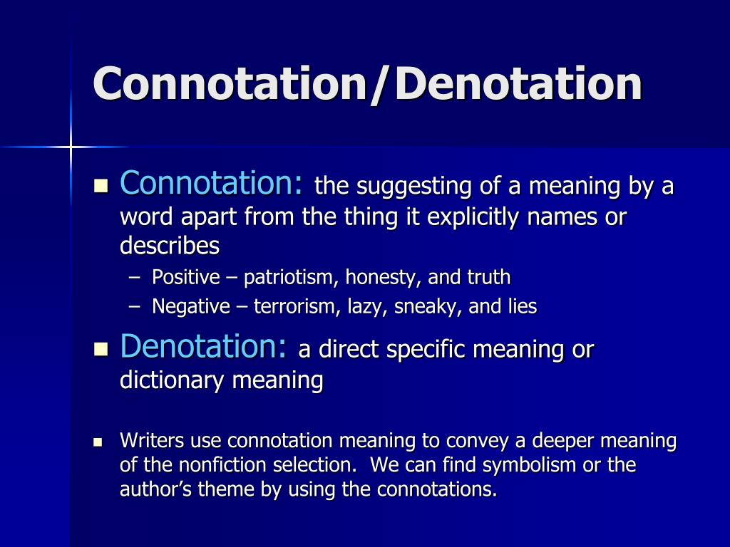 Connotation/Denotation