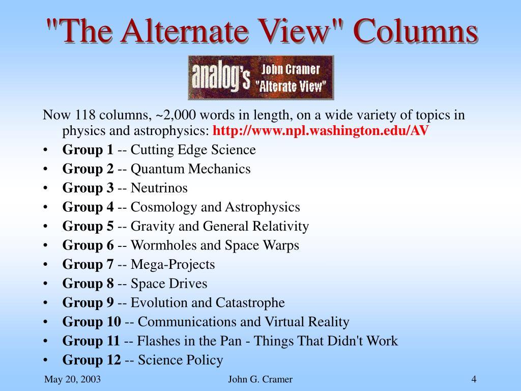 """The Alternate View"" Columns"