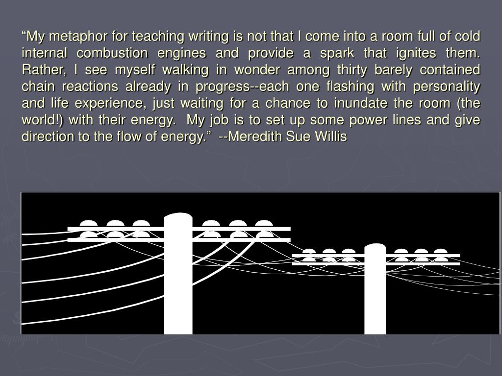 """""""My metaphor for teaching writing is not that I come into a room full of cold internal combustion engines and provide a spark that ignites them.  Rather, I see myself walking in wonder among thirty barely contained chain reactions already in progress--each one flashing with personality and life experience, just waiting for a chance to inundate the room (the world!) with their energy.  My job is to set up some power lines and give direction to the flow of energy.""""  --Meredith Sue Willis"""