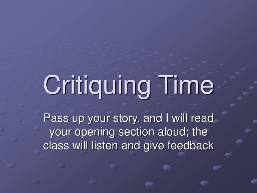 Critiquing Time