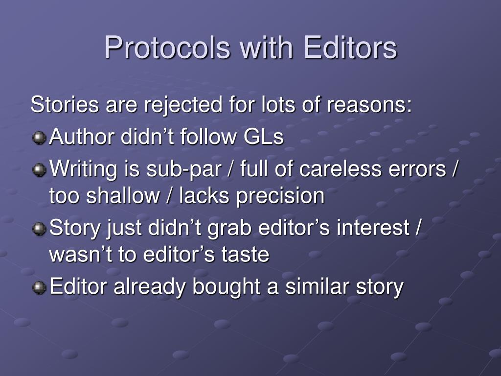 Protocols with Editors