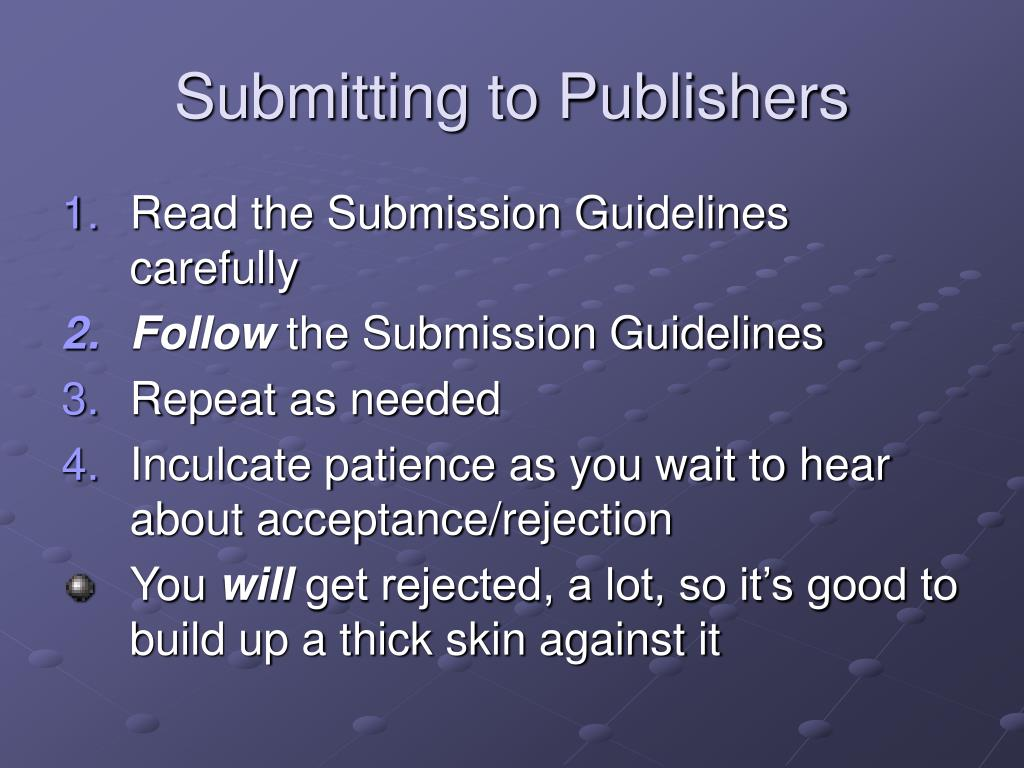 Submitting to Publishers