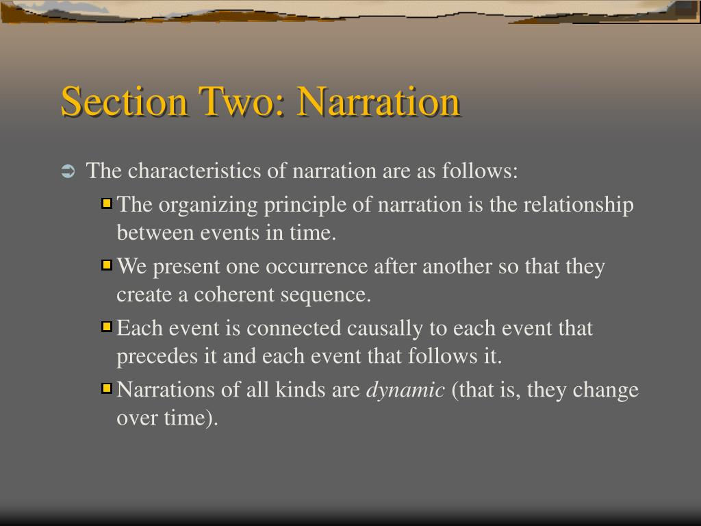 Section Two: Narration