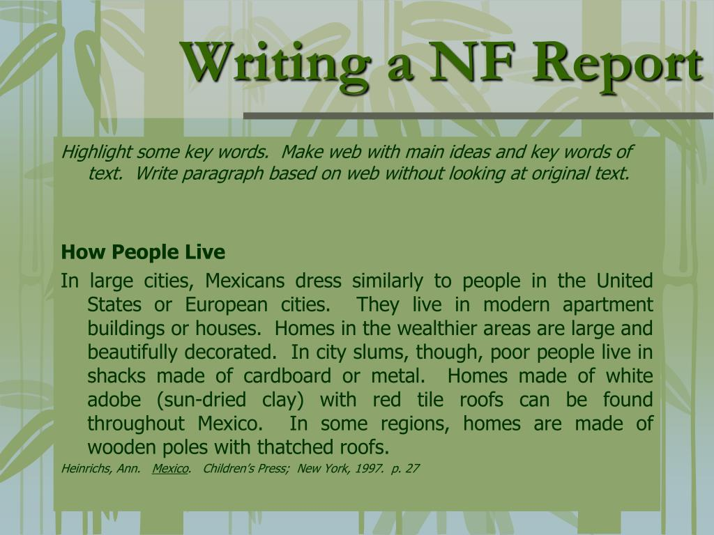 Writing a NF Report