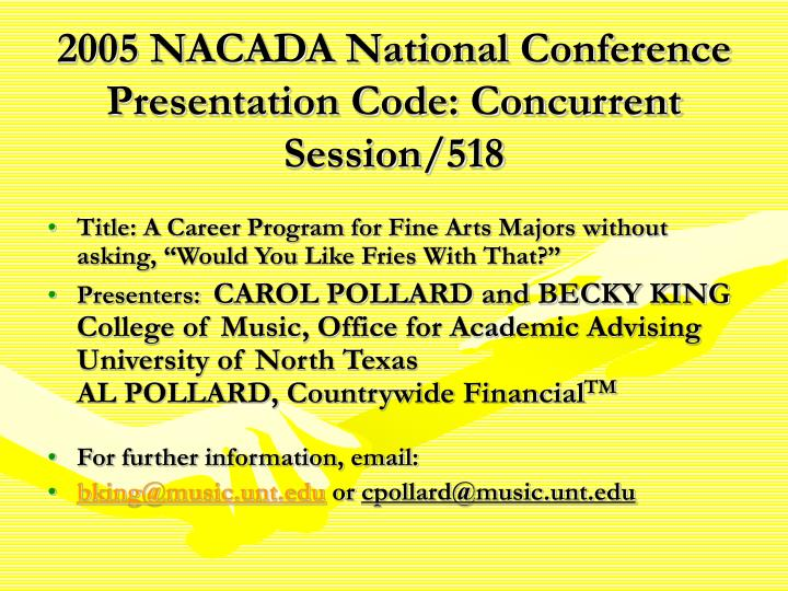 2005 nacada national conference presentation code concurrent session 518