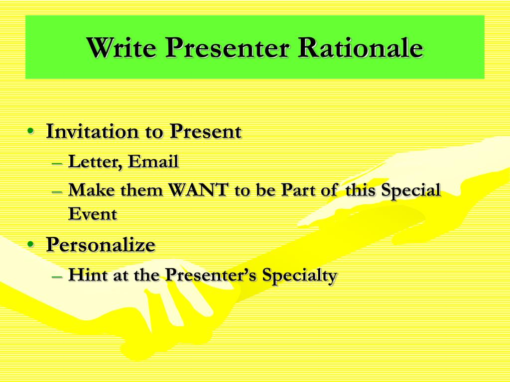 Write Presenter Rationale