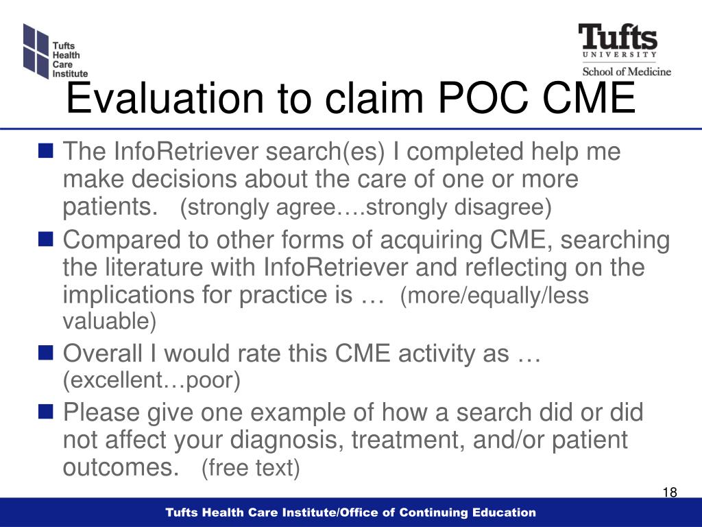 Evaluation to claim POC CME