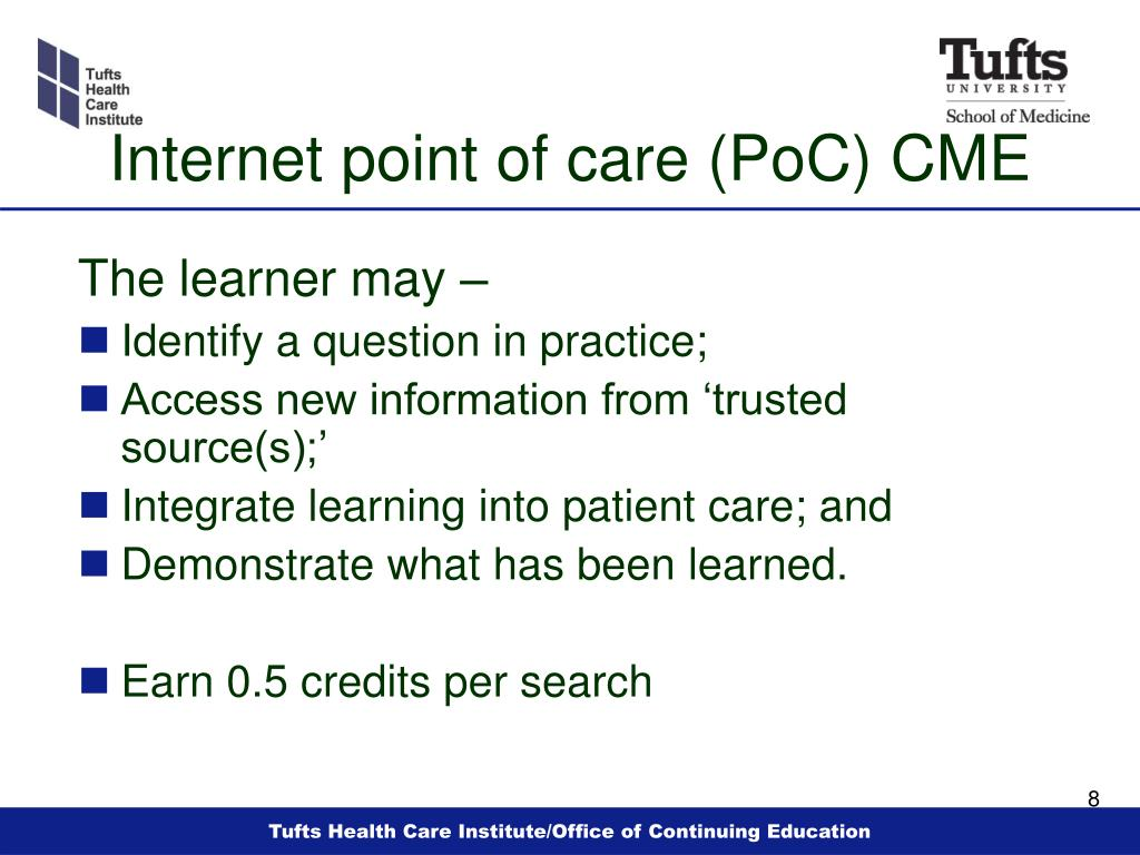 Internet point of care (PoC) CME