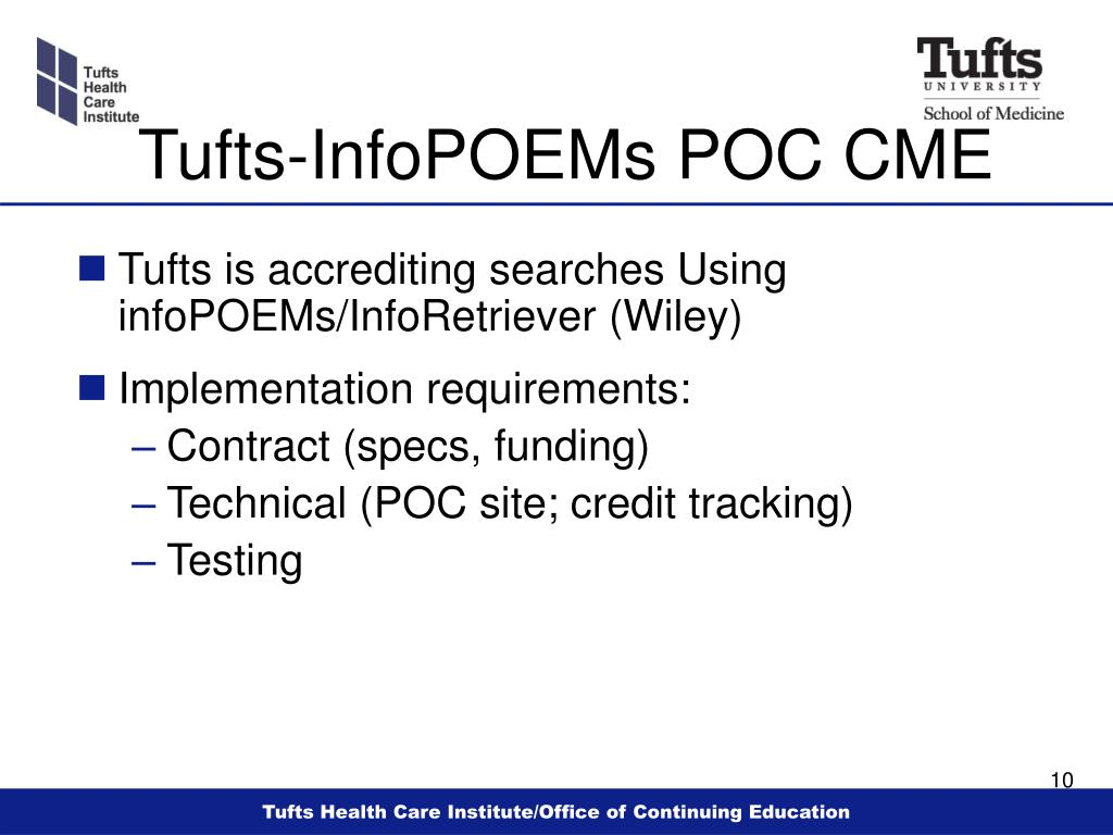 Tufts-InfoPOEMs POC CME