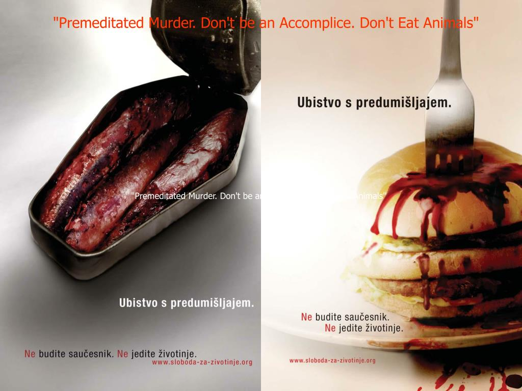 """""""Premeditated Murder. Don't be an Accomplice. Don't Eat Animals"""""""