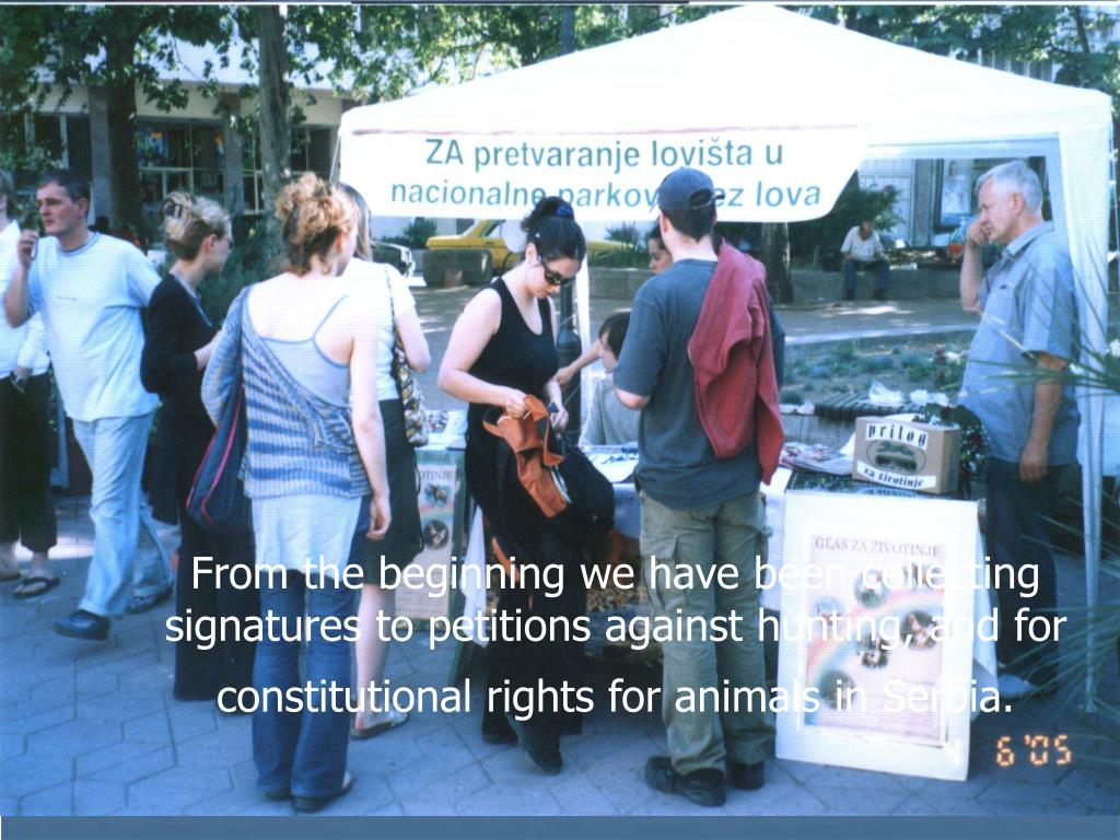 From the beginning we have been collecting signatures to petitions against hunting, and for constitutional rights for animals in Serbia.