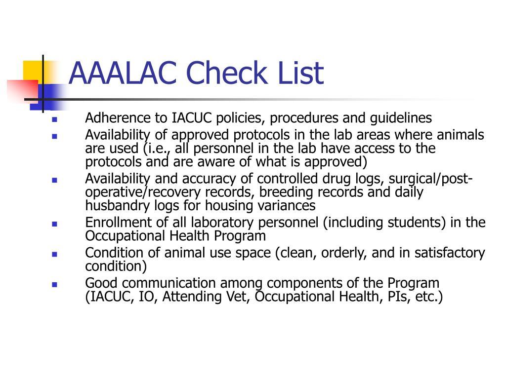 AAALAC Check List