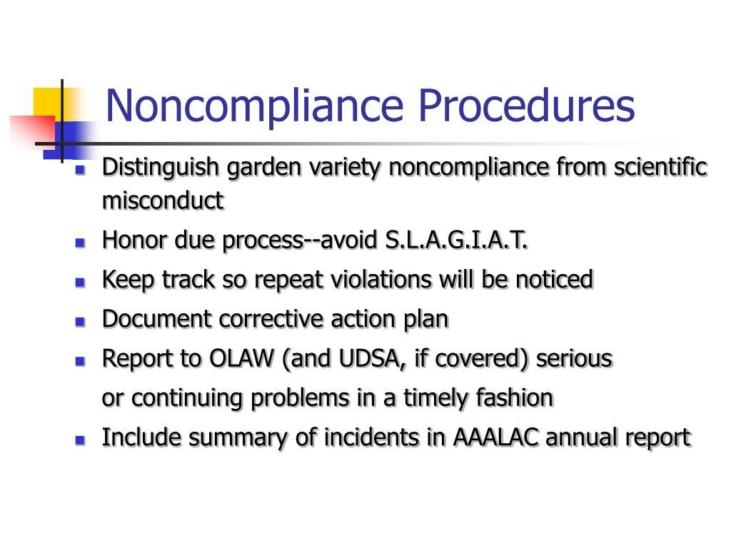 Noncompliance Procedures