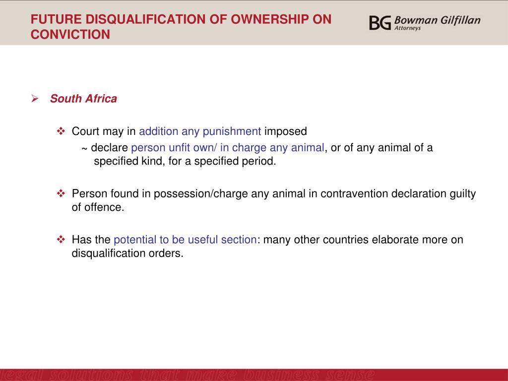 FUTURE DISQUALIFICATION OF OWNERSHIP ON CONVICTION