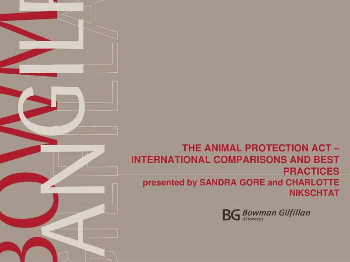 THE ANIMAL PROTECTION ACT – INTERNATIONAL COMPARISONS AND BEST PRACTICES