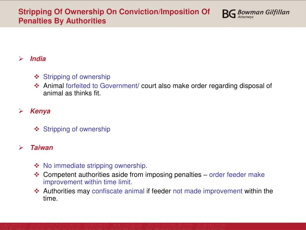 Stripping Of Ownership On Conviction/Imposition Of Penalties By Authorities