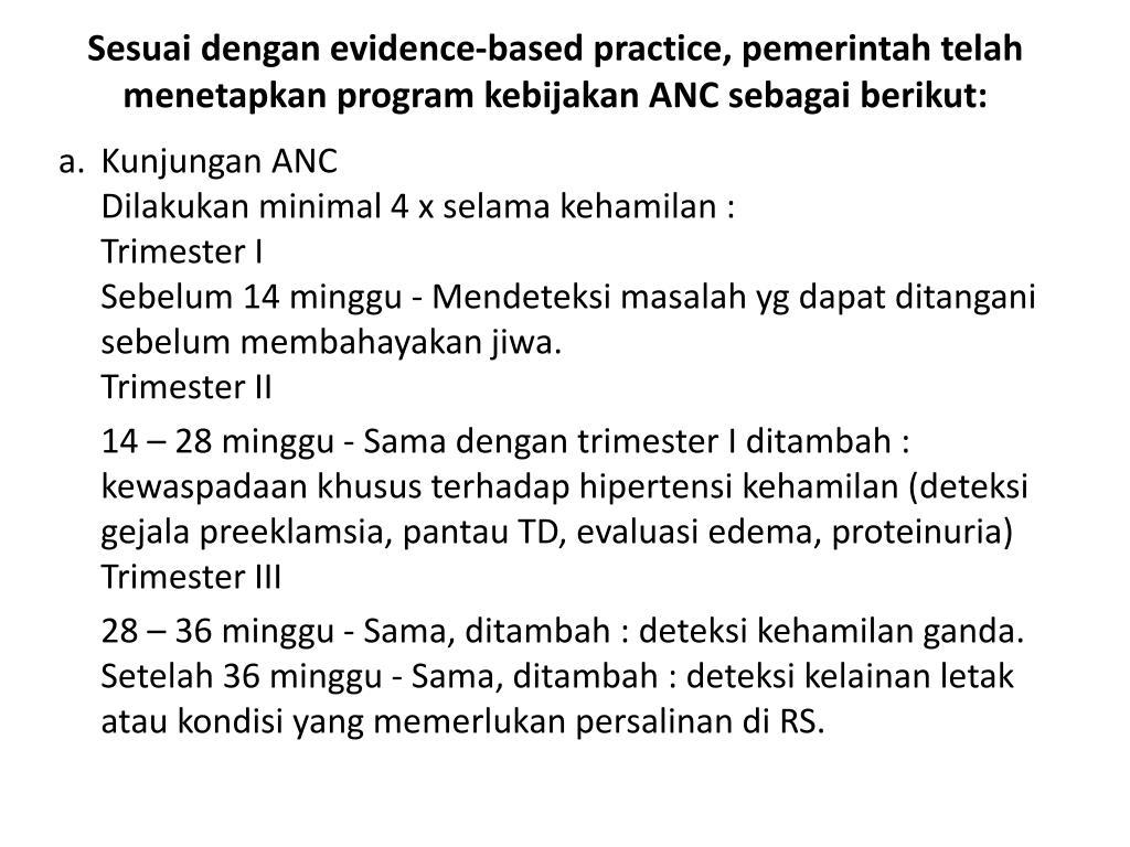Sesuai dengan evidence-based practice, pemerintah telah menetapkan program kebijakan ANC sebagai berikut: