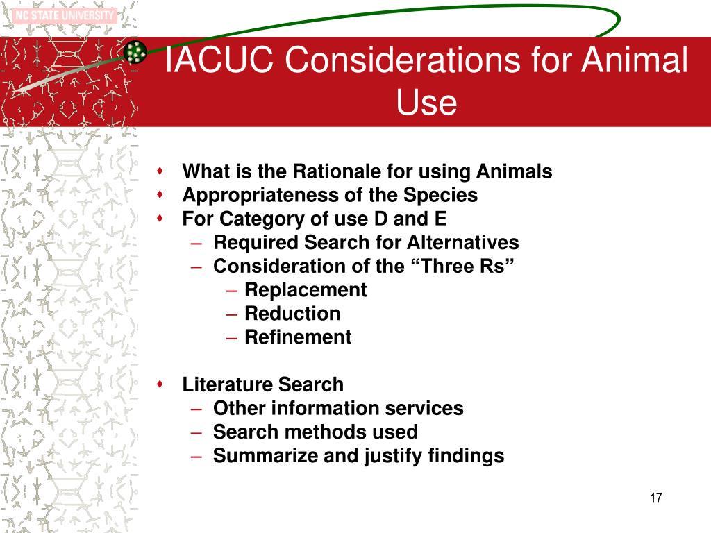 IACUC Considerations for Animal Use