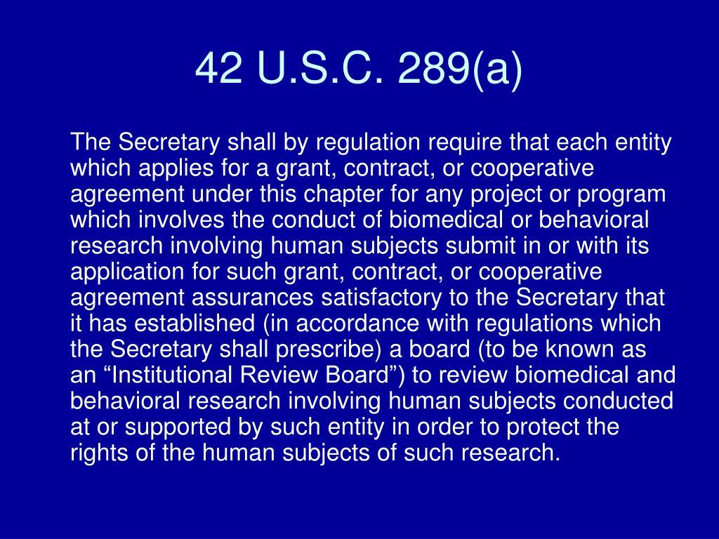 42 U.S.C. 289(a)