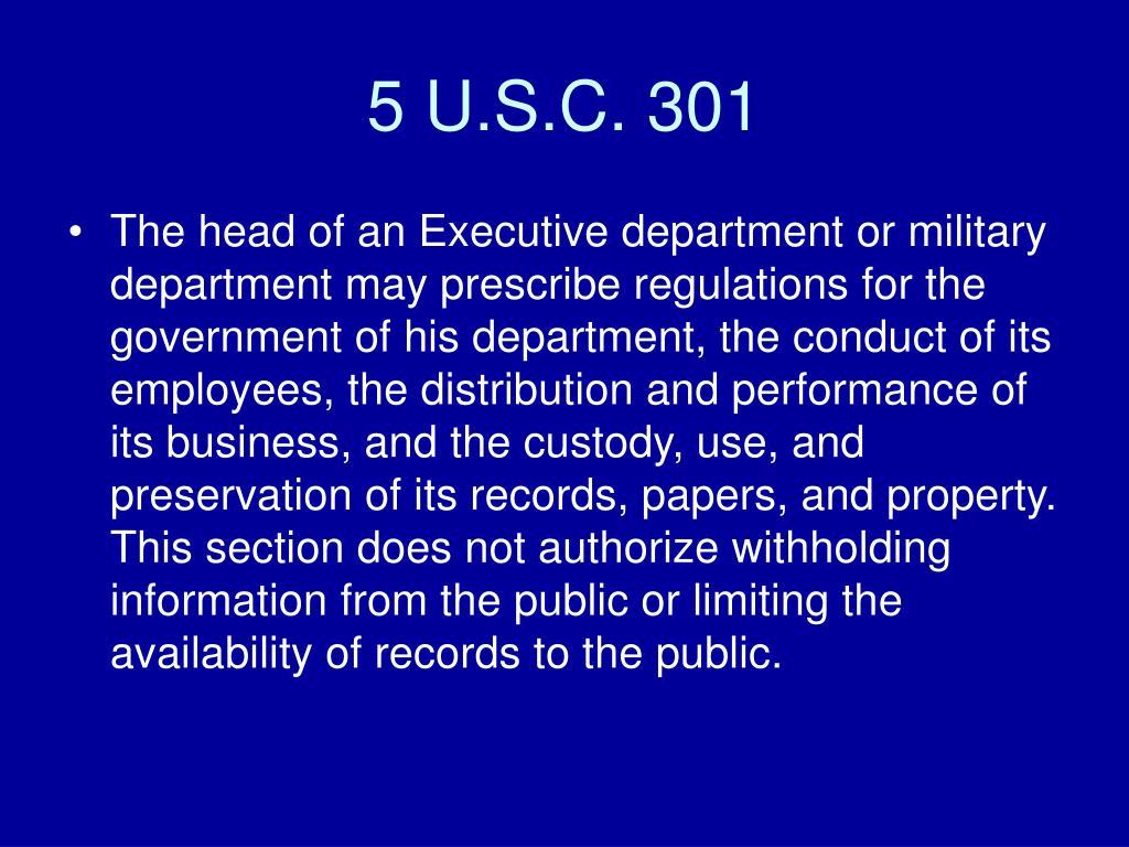 5 U.S.C. 301